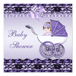 Cute Baby Girl in Purple Carriage Baby Shower 13 Cm X 13 Cm Square Invitation Card