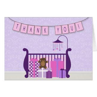 Cute Baby Girl Nursery Thank You Note Card