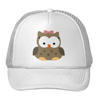 Cute Baby Girl Owl with Pink Bow Cap