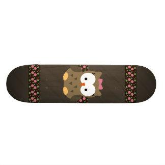 Cute Baby Girl Owl with Pink Bow Custom Skate Board