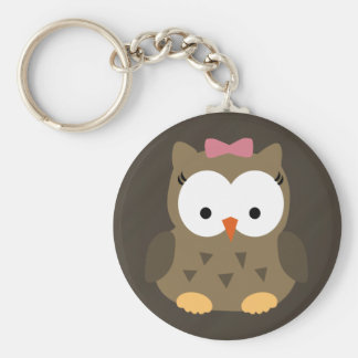 Cute Baby Girl Owl with Pink Bow Key Chain