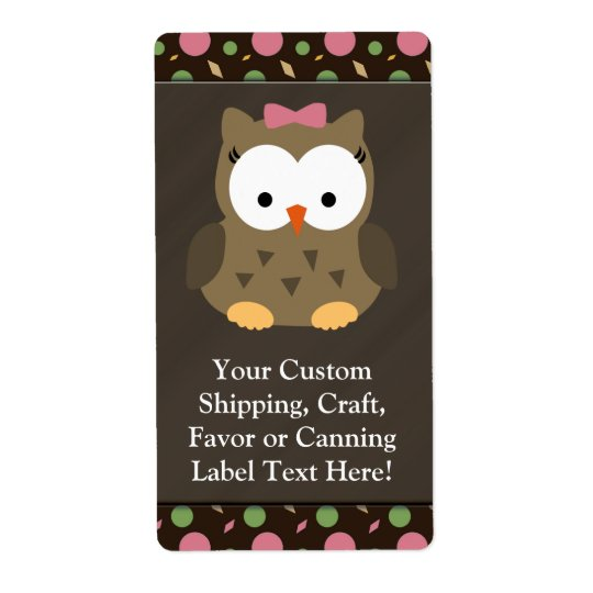 Cute Baby Girl Owl with Pink Bow Shipping Label