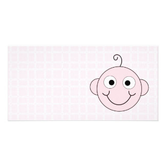 Cute Baby Girl. Pink Check Background. Personalized Photo Card