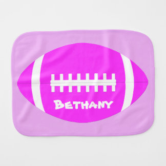 Cute Baby Girl Pink Football Name/Text Burp Cloth