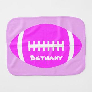 Cute Baby Girl Pink Football Name/Text Burp Cloth
