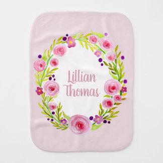 Cute Baby Girl Pink Watercolor Flower Wreath Name Burp Cloth