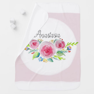 Cute Baby Girl Pink Watercolor Flowers with Name Baby Blanket