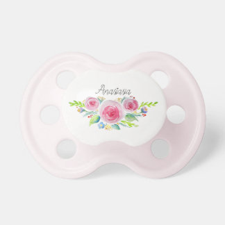 Cute Baby Girl Pink Watercolor Flowers with Name Dummy