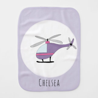 Cute Baby Girl Purple Doodle Helicopter with Name Burp Cloth