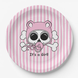Cute Baby Girl Skull Paper Plate