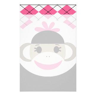 Cute Baby Girl Sock Monkey Pink Black Argyle Personalised Stationery