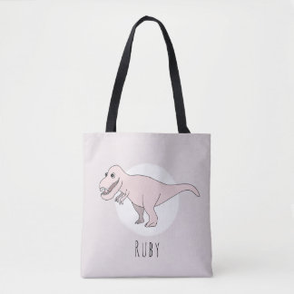 Cute Baby Girl T-Rex Dinosaur with Name Diaper Tote Bag