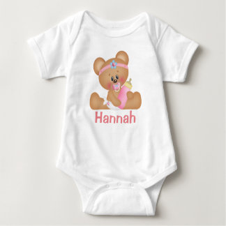 Cute Baby Girl Teddy Bear and Monogram Baby Bodysuit