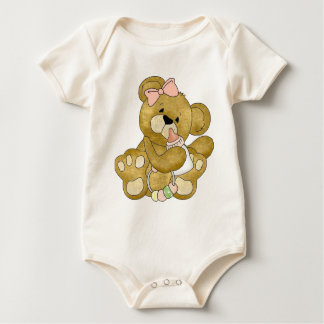 Cute Baby Girl Teddy Bear Baby Bodysuit