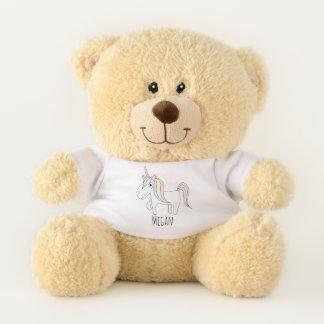 Cute Baby Girl's Doodle Magical Unicorn with Name Teddy Bear