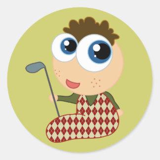 Cute Baby Golfer Golfing Gift Round Sticker