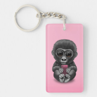 Cute Baby Gorilla Holding a Cell Phone Pink Key Ring