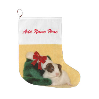 Cute Baby Guinea pig Christmas Large Christmas Stocking