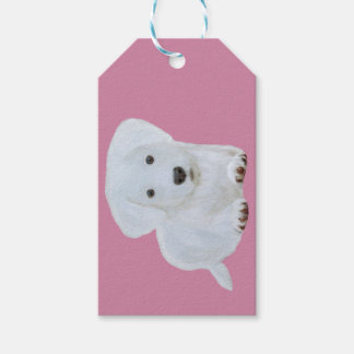 Cute baby happy puppy white dog gift tags