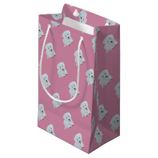 Cute baby happy puppy white dog small gift bag