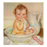 Cute Baby Having a Bath Poster