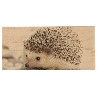 Cute Baby Hedgehog Wood USB 3.0 Flash Drive