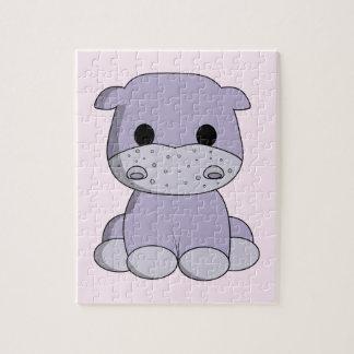 Cute baby hippo cartoon kids puzzle