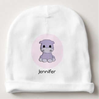 Cute baby hippo cartoon name baby beanie