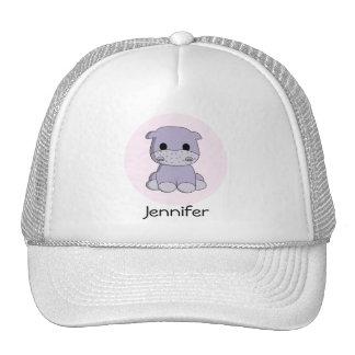 Cute baby hippo cartoon name hat
