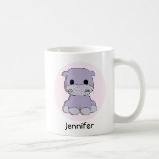 Cute baby hippo cartoon name kids mug