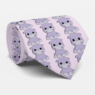 Cute baby hippo cartoon tie