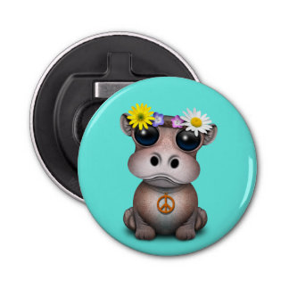 Cute Baby Hippo Hippie Bottle Opener