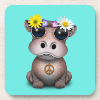 Cute Baby Hippo Hippie Coaster