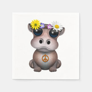 Cute Baby Hippo Hippie Disposable Napkins