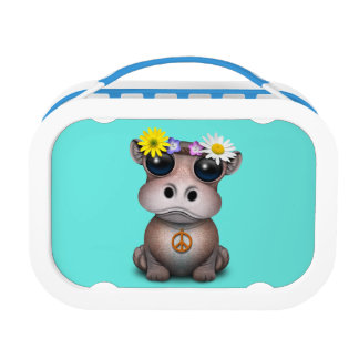 Cute Baby Hippo Hippie Lunch Box