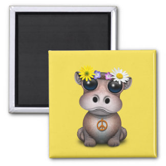Cute Baby Hippo Hippie Magnet