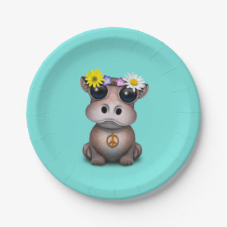 Cute Baby Hippo Hippie Paper Plate