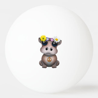 Cute Baby Hippo Hippie Ping Pong Ball