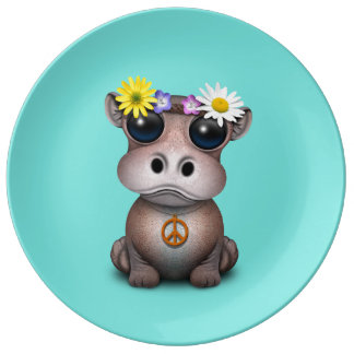 Cute Baby Hippo Hippie Plate