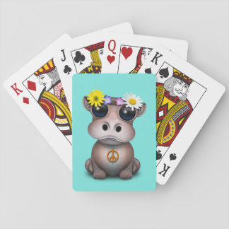 Cute Baby Hippo Hippie Playing Cards