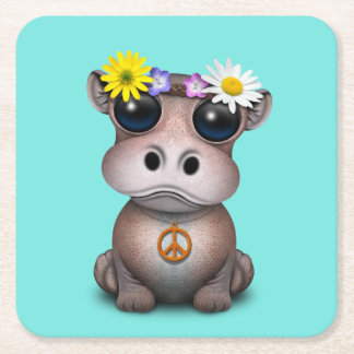 Cute Baby Hippo Hippie Square Paper Coaster