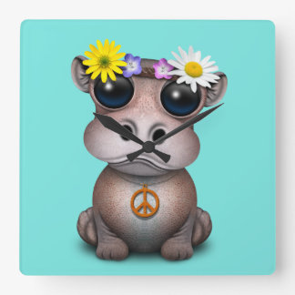 Cute Baby Hippo Hippie Square Wall Clock