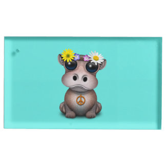 Cute Baby Hippo Hippie Table Number Holder
