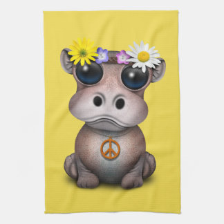 Cute Baby Hippo Hippie Tea Towel