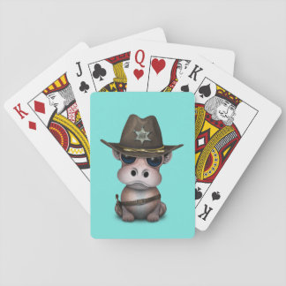 Cute Baby Hippo Sheriff Playing Cards