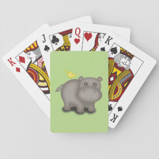 Cute Baby Hippo with Birds Poker Deck
