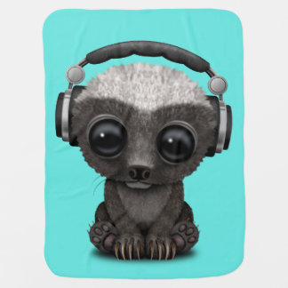Cute Baby Honey Badger Dj Wearing Headphones Baby Blanket