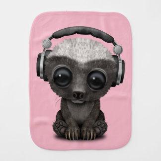 Cute Baby Honey Badger Dj Wearing Headphones Burp Cloth
