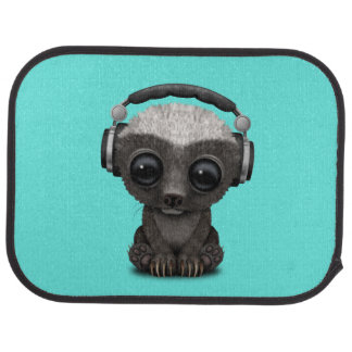 Cute Baby Honey Badger Dj Wearing Headphones Car Mat