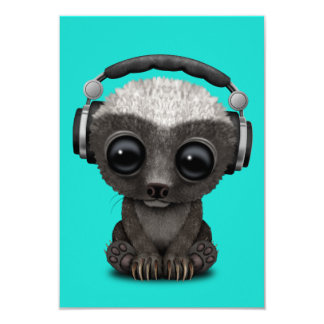Cute Baby Honey Badger Dj Wearing Headphones Card
